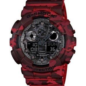 Casio Accessories - Casio G Shock Red Camo GA100 sports watch NEW!